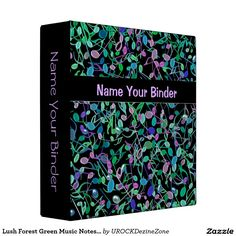 Lush Forest Green #Music Notes Personalized #Binder  #zazzle