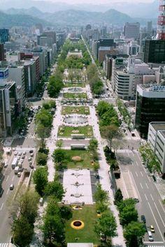 Odori Park in Sapporo, Hokkaido, Japan Sapporo, Urban Landscape, Landscape Design, City Layout, Japanese Lifestyle, Urban Setting, New City, Urban Planning, Japan Travel