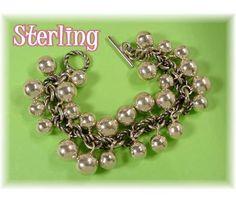 MANHATTAN NIGHTS - Silver Balls Heavy Chain Charm Bracelet - Sterling Silver - $255  www.FindMeTreasure.com