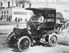 This truck in St. Louis is thought to be one of the earliest gasoline-powered trucks used by the Post Office Department.    It was displayed at the St. Louis World's Fair in 1904.