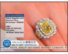 5.66 ct Yellow Sapphire & 0.88 ctw Diamond 18K White & Yellow Gold Ring (9.22 gram weight)