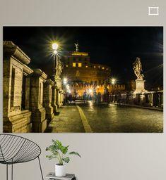 Een nachtopname van de Castle San Angelo, een vesting in het oude Rome. Het kasteel ligt in rechte lijn tegenover de Vaticaanse Sint Pieter. Canvas, Night, Art, Tela, Canvases