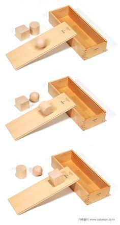 So können Kinder mit Hilfe des Holzkastens der Spielgabe 2 nach Froebel die Eigenschaften der 3 geometrischen Körper testen:  Die Kugel rollt (und zwar in jede Richtung) Die Walze rollt in 1 Richtung Der Würfel rutscht nur Perfekte schiefe Ebene, die hier mit dem Deckel des Kastens hergestellt wird!