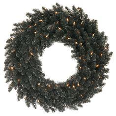 Vickerman 36in. Black 320 Tips Wreath 100 Clear Mini Lights