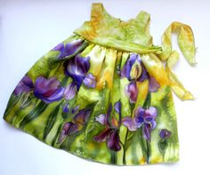 Flower silk dress hand painted for kids. Green by ArmeniaOnSilk, $150.00