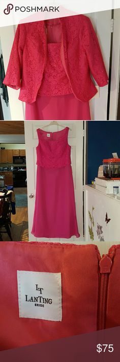 Mother of The Bride Dress Fuchia size 22 with jacket NWT Lan Ting Dresses Wedding