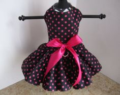 Dog Dress XS Black with Hot Pink Swirls By by NinasCoutureCloset