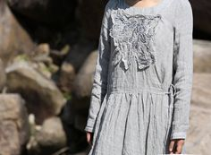 Gray embroidery long sleeve linen dress BonLife от BonLife на Etsy