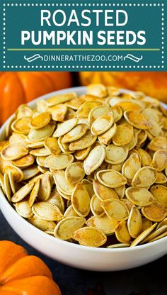 These roasted pumpkin seeds are coated in butter and seasonings, then baked until golden brown. Homemade Pumpkin Seeds, Roasted Pumpkin Seeds, Roast Pumpkin, Baked Pumpkin, Vegan Recipes Easy, Fall Recipes, Beef Recipes, Healthy Snack Options