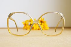 41cce27054b3 Vintage Christian Dior Eyeglasses 1970s Glasses New Old  Stock hipster retro disco frames Oversize Honey tone embedded glitter  Germany optyl