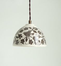 Handmade porcelain lampshade in neutral colors of dark taupe and white. This is a lovely bell-shaped accent pendant light fixture covered