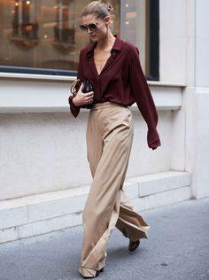 Le pantalon large taille haute, la pièce classique/chic du moment