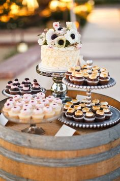 Get creative with your dessert table, a barrel looks chic for a rustic wedding. Dessert Tables, Wedding Dessert, Cupcakes