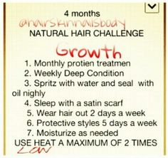 Natural Hair 4 Month Hair Growth Challenge Guide