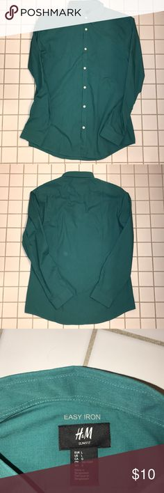 H&M Men's Turquoise LS Easy Iron Button Up Never worn - great condition H&M Shirts Dress Shirts