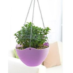 Hook Hanging Chain Flower Pot Basket Planter for Garden Home Decor Purple #