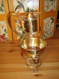 Vintage Elegant Pyrex Glass Gold Tone Coffee Tea Chafing Pot & Stand Service