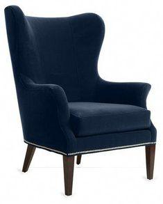 One Kings Lane Tristen Wingback Chair - Peacock Velvet Grey Velvet Chair, Velvet Wingback Chair, Wingback Chairs, Armchairs, Velvet Chairs, Settees, Sofa, High Back Armchair, High Back Chairs