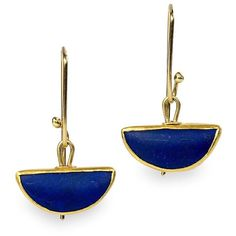 Half Moon Lapis Earrings ❤ liked on Polyvore featuring jewelry, earrings, earring jewelry, gold jewellery, earrings jewellery, yellow gold jewelry and gold jewelry