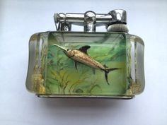 Standard Dunhill Aquarium table lighter c.a 1950 desighned by Ben Shillinford - swordfish very rare