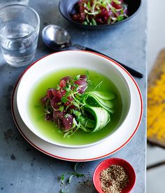 Australian Gourmet Traveller recipe for chilled cucumber-ginger soup with raw tuna.