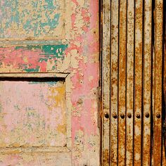 Layers of pink, chippy paint