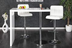 DUO - design bar table white high gloss kitchen breakfast bar by Neofurn Table Haute Bar, Table Bar, Table And Chairs, Free Standing Breakfast Bar, Ventura Design, Diy Standing Desk, High Gloss Kitchen, Modern Home Bar, Design Tisch