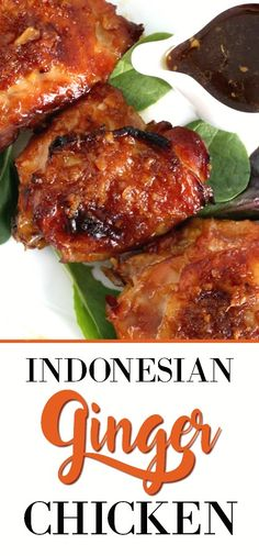 Easy recipe for baked Indonesian ginger chicken with a sticky and delicious sauce. Marinated chicken in a fresh ginger, garlic and soy sauce marinade is then bake until tender and moist. Serve over rice for a fabulous dinner. Meat Recipes, Indian Food Recipes, Asian Recipes, Chicken Recipes, Cooking Recipes, Healthy Recipes, Ethnic Recipes, Indonesian Recipes, Indonesian Chicken Recipe