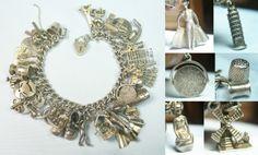 Spain France Italy Denmark Lil Mermaid Good Luck Vintage Silver Charm Bracelet   eBay