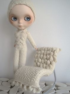 Tiny Knit Chair for a Beautiful Blythe Doll Decked Out In a Gorgeous Sweater Outfit!
