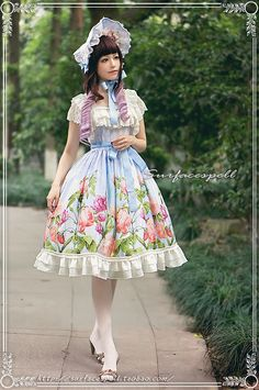 Au nom DE la Rose * printed retro hand-painted roses Summer Lolita Dress Teens Dress Teenage Fashion