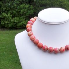Myriana  Large Chunky 15mm Round Pink Coral and Tan by Tessyla, $95.00