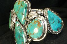 Huge Navajo Sterling Silver Green Turquoise Bracelet Native American Dead Pawn