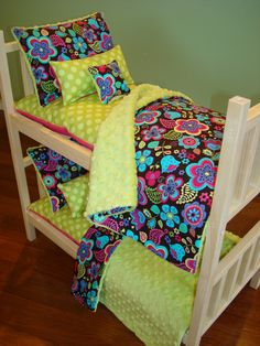20% OFF SALE 10-Piece Bunk Bed Bedding Set Fits American Girl Doll. $39.99, via Etsy.