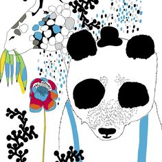 Marimekko Panda fabric on canvas Love Design, Baby Design, Design Art, Print Design, Art Print, Nordic Design, Scandinavian Design, Marimekko Fabric, Frame Shop