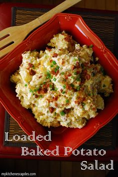 Loaded Baked Potato Salad - My Kitchen Escapades - if you think you hate potato salad, you must try this recipe! It is completely delicious and tastes just like a loaded baked potato with sour cream, cheese, bacon and green onions Memorial day! Potato Dishes, Food Dishes, Side Dishes, Loaded Baked Potato Salad, Potato Salad With Bacon, Side Dish Recipes, I Love Food, Salad Recipes, The Best