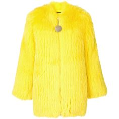 Givenchy fox fur collarless jacket (£5,955) ❤ liked on Polyvore featuring outerwear, jackets, yellow jacket, collarless jackets, zipper jacket, long sleeve jacket and oversized jackets