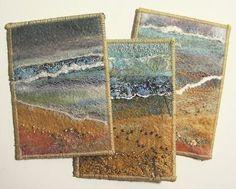 beach-group-atcs beach group textile ATC's by Helen Suzanne Fabric Cards, Fabric Postcards, Textile Fiber Art, Textile Artists, Fibre Art, Small Quilts, Mini Quilts, Landscape Art Quilts, Art Trading Cards