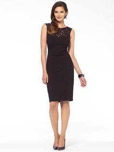 Black Lace Illusion Ponte Dress   Caché