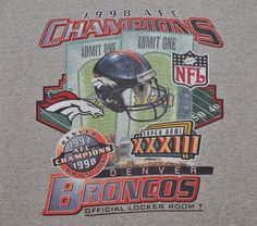 Mens Vintage NFL Denver Broncos Gray Starter T Shirt Size XL 1998 AFC EUC #Starter #DenverBroncos