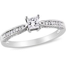 Walmart: 1/3 CT TGW Created White Sapphire and Diamond-Accent Engagement Ring in Sterling Silver
