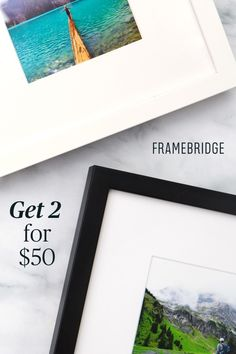 """Beautiful custom framing made easy. Framed photos and memories, delivered right to your door. Use promo code 2INSTA50 to get 2 custom-framed Instagram """"Minis"""" for $50 (regularly $39 each)!"""