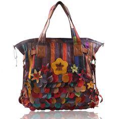 Women's Handbag Messenger Travel Bag in Splicing Leather - Flowers