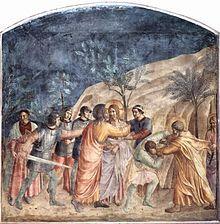 Il bacio di Giuda del Beato Angelico ( 1437 - 1446 circa ). Museo di San Marco, Firenze
