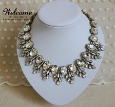 clear stones Crystal Statement Necklace,Bib necklaces,Choker necklace,Beadwork necklaces