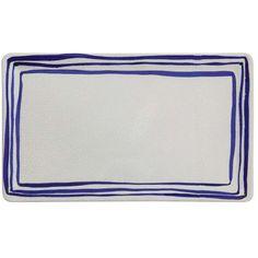 blue and white striped terra cotta platter