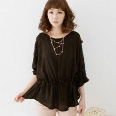 J74988 Lace Sleeve Drawstring Waist Chiffon Shirt