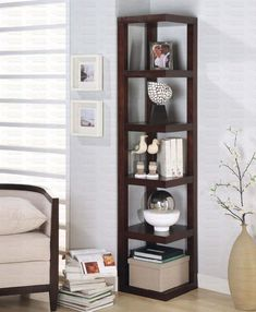 Bowery Hill 5 Shelf Corner Bookcase in Cappuccino - Corner Shelves - Ideas of Corner Shelves Corner Shelf Ikea, Corner Shelf Design, Corner Bookshelves, Ikea Bookcase, Discount Furniture, Online Furniture, Cheap Laminate Flooring, Horizontal Bookcase, Timber Shelves
