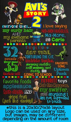 Toy Story Birthday Chalkboard Poster by VickiTsCreations on Etsy