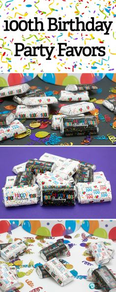 Create memories with these Happy 100th Birthday Favor stickers by simply wrapping around Hersheyu0027s Miniatures Candy · Happy birthday parties! & 57 best 100th Happy Birthday Party Ideas images on Pinterest | 40th ...
